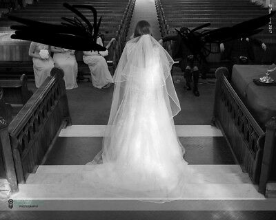 Ivory Cathedral Length Waterfall Bridal Veil With Comb