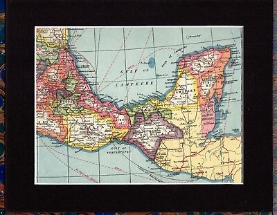 Antique MAP ~ MEXICO Gulf of CAMPECHE Central AMERICA ~ 1920 MOUNTED 90+ Yrs
