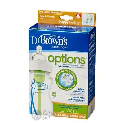 Dr Brown's Options 270ml Anti Colic Wide Neck Baby Bottle Twin Pack