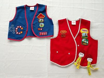 Vintage lot of 2 - AWANA SPARKS CLUB Vests with Patches GIRL SCOUTS