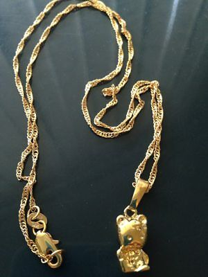 Hello Kitty 18 K Yellow Gold Filled 19 Inch Chain Necklace w/Pendant-Jewelry-NEW