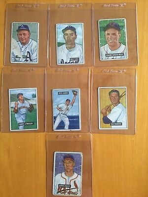 1951 Bowman Baseball Card Lot of 7 different lower grade cards
