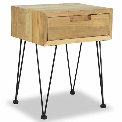 vidaXL Solid Teak Bedside Cabinet 40x30x50cm with Drawer Nightstand Table#