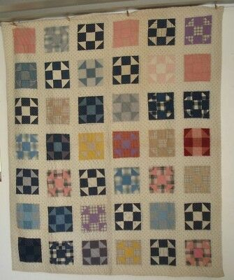 Antique Patchwork Shoofly Quilt Hand Quilted 64 X 77 Excellent Quilt!