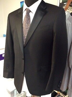 Tommy Hilfiger Black Tuxedo Suit Wool 2-Button Flat-Front Mens 42R Used Once
