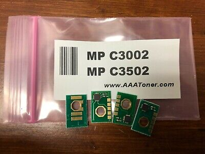 4 x Toner Chip for Ricoh Aficio MP C3002, MP C3502 (841647 ~ 841648) Refill