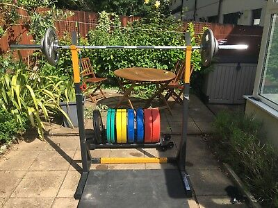 Home Gym -  Squat Rack, barbell, 6 mats, 202.5kg weight plates & holder