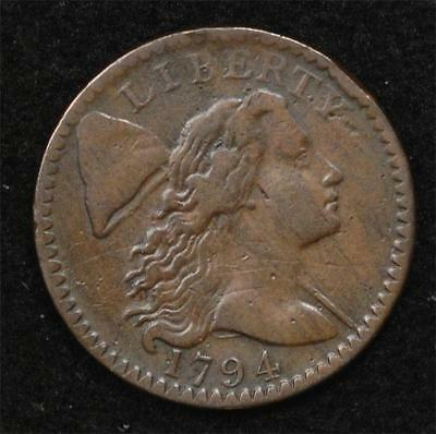 1794 Large Cent, Head of 1794, Corrosion-Free VF.  S-58 variety.