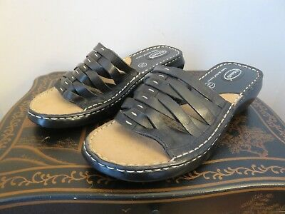 6c326a5167f7f Dr Scholls Women Black Leather Wedge Slides Sandal Shoe Size 7.5 M EUR 39