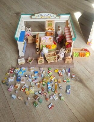 Sylvanian Families Supermarket 120+ Accessories And 4 Figures Boxed