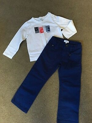 Hugo Boss Blue Chinos And White Top Age 3