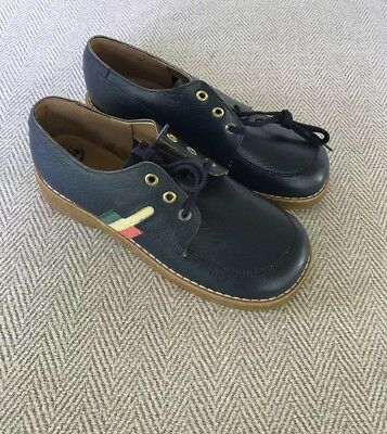NEW Vintage 1970s Buster Brown Navy Lthr Lace Up w Stripes Shoes Boys Youth 3.5