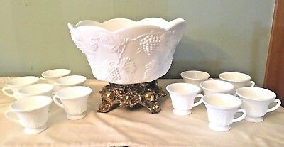 Vintage Pitman Dreitzer Milk Glass Punch Bowl & 12 Glasses Set