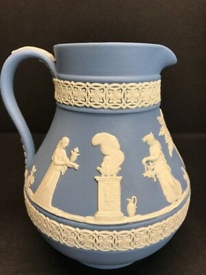 "VTG Blue Jasperware Wedgwood Pitcher / Creamer / Syrup 5"" IN Tall England Mint"