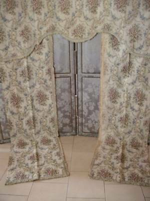 French Chateau Ciel De Lit Tapestry Drapes Daisy Chain & Garlands Of Roses
