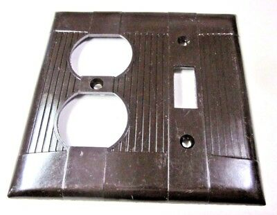 Vintage Eagle Tuxedo 2 Gang Switch Outlet Plate Cover Deco Ribbed Brown Bakelite