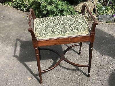 Edwardian Antique Piano Stool Seat Chair
