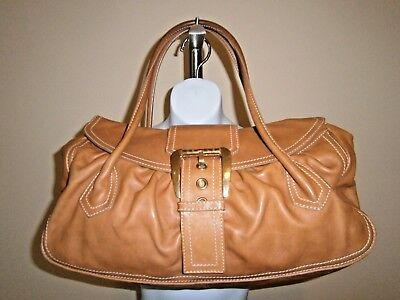 f4c22554b10f Celine CE00 14 Made in Italy Carmel Leather Buckle Detail Large Vintage  Handbag