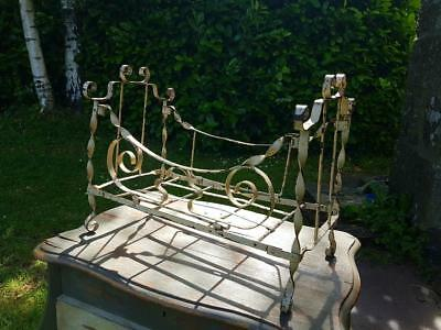 19thC Antique French Architectural Wrought Iron Doll Day Bed, Miniature Bed-RARE