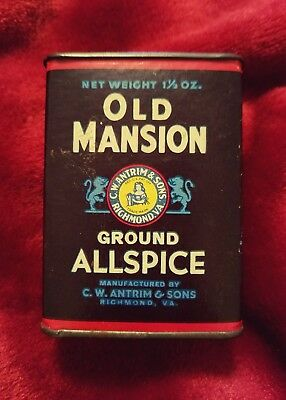 "Vintage ""old Mansion"" Cardboard Allspice Spice Tin * Advertising *"
