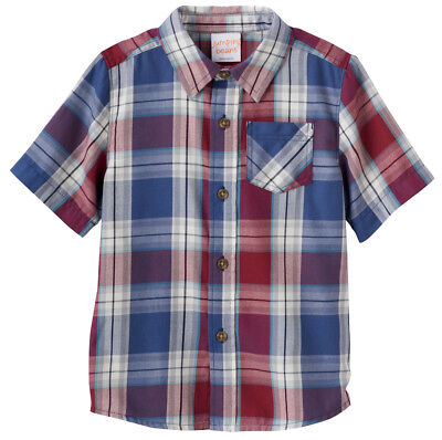 NWT Jumping Beans Button-Down Red Blue Plaid Shirt, Baby Boys Sizes 12M 18M 24M