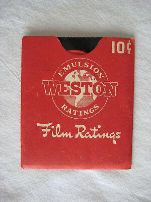 Weston 1941 Emulsion Ratings Film Rating Guide Booklet and Sleeve Excellent Cond