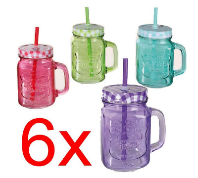 Mason Jam Glass Drinking Jar Drink Juice Cocktail  X Handle 6  PCS 500ML