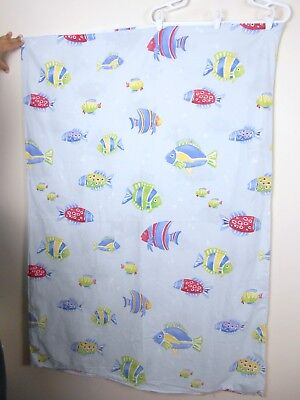 POTTERY BARN PBK Bermuda FISH Toddler Duvet Cover Blue & White Reversible