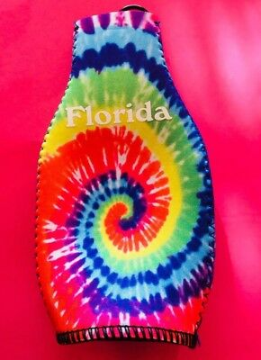 FLORIDA (1) Tie Died Zippered BEER Bottle COOZIE; New Never Used Mint Condition