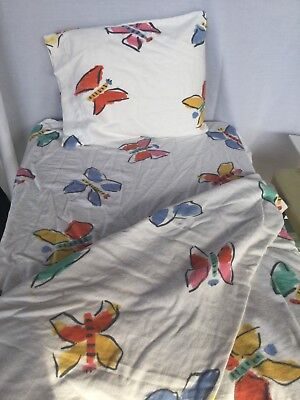 Crib sheet Garnet Hill comforter cover pillowcase butterfly flannel