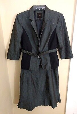 The Limited Womens 2 Piece Suit Size 14 Blazer Skirt Gray Career Large Marled
