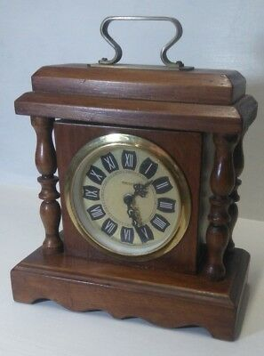 "MANTLE CLOCK. Wood And Brass Clock. Vintage. Retro.    8"" tall.         B1"