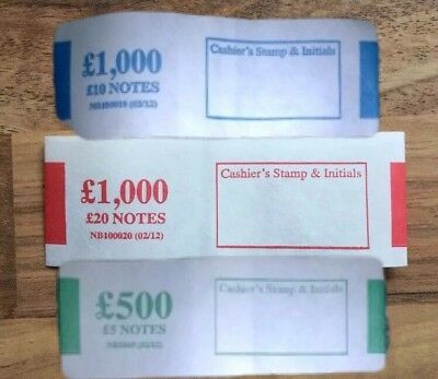10 x £5 / 10 x £10 / 10 x £20 note money bands UK currency FOR THE NEW NOTES