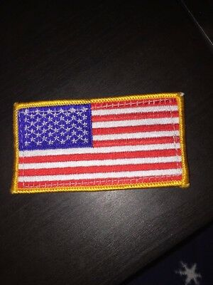 AMERICAN FLAG EMBROIDERED PATCH Sew On GOLD BORDER USA US United States