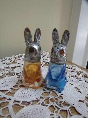 Vintage Pair 1930s Figural Czech Glass Rabbit Or Hare Sugar Shakers/ Muffineer