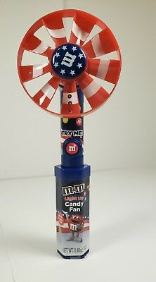 2016 Patriotic M&M Candy Battery Fan July 4th Fourth Mars Red White Blue Light