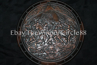 Antique Italian Bronze Overlay Copper Iron Relief Shield Italian French Makers M