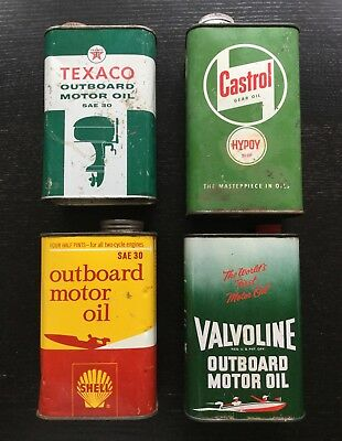 Vintage Oil Cans - Outboard Motor Oil - Lot Of 4