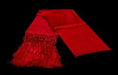 Mexican Rebozo Seda Red Rojo Silk Texture Shawl Wrap Runner from Mexico