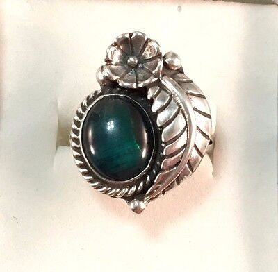 VTG Signed STC Navajo Sterling Silver Paua Abalone Feather Ring Size 6