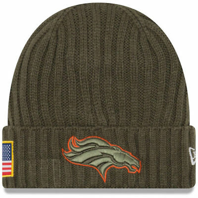 best sneakers ba534 295b8 New Era Denver Broncos NFL Olive 2017 Salute To Service Cuffed Knit Beanie,  NWT