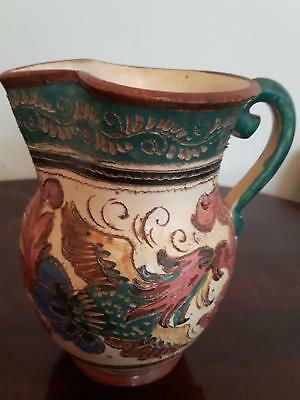 Antique art pottery jug pitcher redware hand carved hand painted