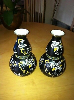 A Pair Of Antique Collectable Rare Corona Ware S Hancock & Sons Vases