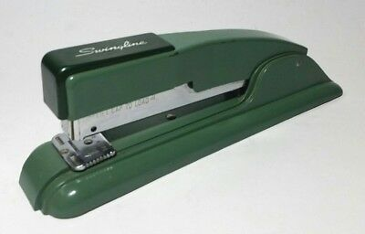 Vintage Desk Stapler Swingline 27 Metalic Green Metal Retro Office USA MCM