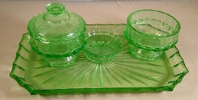 Vintage Green Glass Vanity Dressing Table Set 3 piece set with tray and ring pot