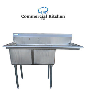 """Stainless Steel 2 Compartment Sink 52.5 x25"""" with Right Drainboard NSF Certified"""