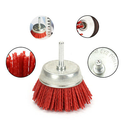 3 Inch Dia Red Polishing Grinding Abrasive Wire Nylon Cup Brush 6MM Shank 80#