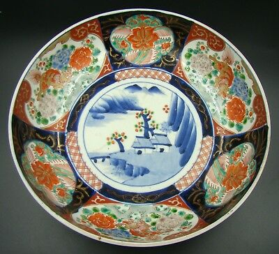 18th Century Japanese Imari Arita Porcelain Hand Painted Bowl Red & Blue