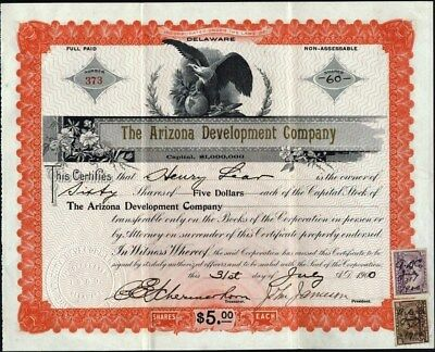 Arizona Development Co, 1910, Uncancelled Stock Certificate + 2 Documentary Stps