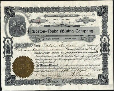 Boston = Idaho Mining Co, 1905, Salt Lake City, Utah Stock Certificate